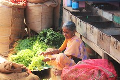 Happy woman (bluelotus92) Tags: people woman india market herbs marketplace karnataka mysore seller mysuru leafyvegetables happywoman womanseller devarajursmarket devarajaursmarket