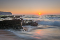 Another Cloudless Sky. (dave.gti) Tags: ocean longexposure nature water sunrise landscape rocks waves tide nsw select oceanscape turimetta