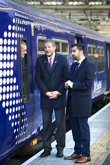 Humza Yousaf and Phil Verster welcoming the arrival of the latest c320 refurbished train to ScotRail fleet (Transport Scotland) Tags: unitedkingdom gbr glasgow central station humzayousaf phil verster scotrail