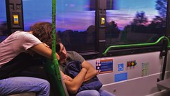 Bus and Love (matteogrobberio) Tags: bus love couple sky mirabilandia sunset blue purple magenta speed stress dark beautiful heart young teen