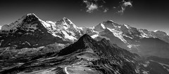 Royal View (Nelus Photography) Tags: eiger mnch jungfrau mnnlichen interlaken lauterbrunnen grindelwald landscape mountains mountainrange alps alpen berge gletscher glacier clouds wolken trekking outdoor landschaft switzerland bern black white schwarz weiss