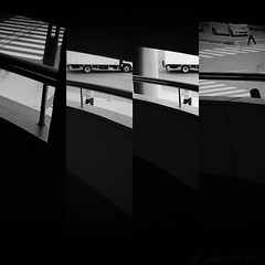 Urban Anonymity (lesliegill) Tags: 2016 abstractoctober blackandwhite iphone7plus japan morning omiya people stairs urbanexploration vehicles