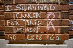 """""""I Survived Cancer For This Moment"""" / Go Cubs Go (Joshua Mellin) Tags: chicagocubs wrigleyfield worldseries 2016 chalk graffiti chalkgraffiti w flythew cubswin stadium outside wrigley wrigleyville game7 tickets seats tv baseball mlb hope chicago champions championship 1908 108 fans chicagocubsworldseries worldseries2016"""