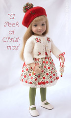 """""""A Peek at Christmas"""" made for the Little Darlings. (Cindy Rice Designs) Tags: embroidery effner christmas cardigan sweater knit doll dress beret hat"""