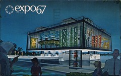 Pavilion Of The Province Of Quebec, Expo '67, Montreal, Quebec (SwellMap) Tags: postcard vintage retro pc chrome 50s 60s sixties fifties roadside midcentury populuxe atomicage nostalgia americana advertising coldwar suburbia consumer babyboomer kitsch spaceage design style googie architecture neon night evening dark street marquee