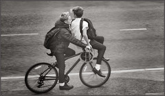 'On a Bicycle Made for One' (rogermccallum) Tags: double bike bicycle cycle schoolboys street