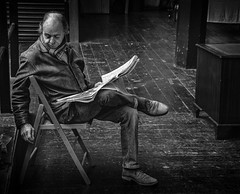The paper man (Daz Smith) Tags: dazsmith canon6d bw blackwhite blackandwhite bath city streetphotography people candid canon portrait citylife thecity urban streets uk monochrome blancoynegro mono man male paper read reading sat sitting chair