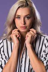 Dominika (Disorderly) Tags: woman blond blonde longhair female girl young adult pretty beautiful beauty gorgeous attractive lovely sexy slim slender petite czech gray white blouse shirt stripes closeup portrait face head headshot