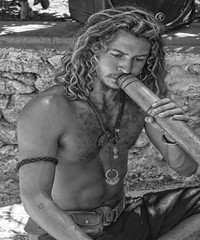 The didgeridoo player in a Band in Ibiza hippie market (strawberrymouseman) Tags: sex wife girlfriend wives swap party strawberrymouseman steve henson england rooney southgate lily allen brexit blackandwhite monochrome abstract black background pattern texture text outdoor