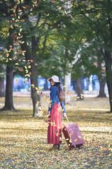 Yuki (Yuri Figuenick) Tags: woman portrait japanese asian girl trip travel suitcase hat fashion leaves fall autumn fallenleaves ginko yellow red focus canon 5d eos markiii 135mmf2l