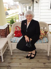 Time For Some Girl-To-Girl Talk (Laurette Victoria) Tags: suit purse gloves porch laurette woman silver