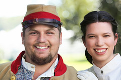On The Plantation Lawn (wyojones) Tags: texas hempstead liendoplantation civilwar reenactment civilwarweekend couple southern rebel texan uniform confederatesoldier southernbelle man boy handsome soldier hat woman girl beauty beautiful lovelt cute pretty smile gloves hoopskirt hair