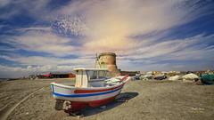 (406/16) La barca (Pablo Arias) Tags: pabloarias photoshop nxd cielo nubes espaa arquitectura barca arena playa colores barriada cabodegata almera comunidadandaluza