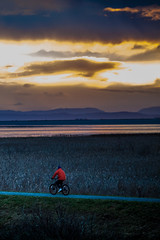 biker (michaelinvan) Tags: winter stormy sunset sun red bike people man richmond dyke trail frasier river ocean sea evening gloomy canon5d2 135mm f2 moody sky orange blue mountain vancouver 2016 water reflection portrait green shore dusk cloud interesting golden hour seaside contrast cold warm shadow light tranquility weather loneliness oneman north canada