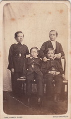 Portrait of four boys by Aug. Kampf (c.1870)