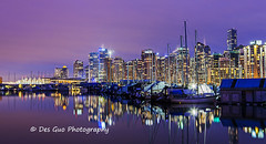 Vancouver Downtown Nightscape from Coal Harbour (PhotoDG) Tags: vancouver downtown skyline coalharbour nightscape cityscape wideangle longexposure color highrise skyscrape light reflection