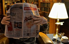 Portrait of a Man With Extremely Large Hands Reading the Daily Sports Section of the Kansas City Star (ricko) Tags: selfportrait newspaper kansascitystar sportssection reading bighands lamp werehere 338366 2016