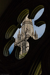 Cloistered! (Anthony Plancherel) Tags: architecture category england internal places salisbury salisburycathedral travel wiltshire classicalarchitecture gothicarchitecture architecturephotography travelphotography canon1585mm canon70d canon stone stonework light lightandshadow shadows ornamental spire tower decorations decorative english british greatbritain uk unitedkingdom placeofworship cathedral sky bluesky