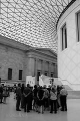 DSCF9563a (bellydanser) Tags: bw blackandwhite people architecture buildings london england britishnationalmuseum museum crowd