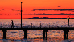 Piering Across the Bay (Redux) (djryan78) Tags: 70d spring landscape sunset jetty dslr bay sky 18135 outdoor canon hill youyangs dusk water blackrock man ship silhouette melbourne australia victoria 18135stm blackrockpier canon70d seascape portphillipbay pier hills walk