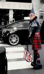 """""""In your clothes and your hair I wore it last year Oh no, doncha follow me no more"""" - Rolling Stones (Lidiya Nela) Tags: street selectivecolor people manhattan urban newyork city streetphotography unionjack partialcolor nyc"""