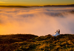 A Nice Day for a White Wedding (Peter Quinn1) Tags: wedding stanageedge derbyshire mist sunset