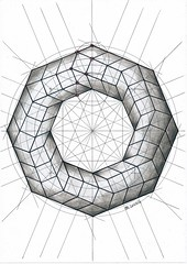 20161124 (regolo54) Tags: polyhedra solid geometry symmetry mathart regolo54 square rombo circle handmade structure escher pencil ink