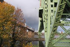 Runcorn Bridges Side by Side (big_jeff_leo) Tags: runcornbridge cheshire mersey railway road river england reflection iron