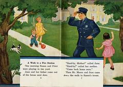1930's neighborhood (katinthecupboard) Tags: vintagechildrensillustrations vintagechildrenssociology socialscience 1937 clarencebiers biersclarence townlife dog ball