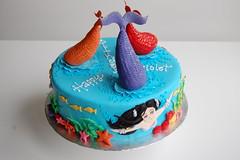 Violet's Mermaid Birthday Cake - horizontal view (CharmChang) Tags: ocean birthday fish cake underwater h2o adventures mermaid fondant