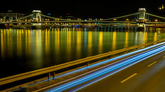 Night Time view of the Chain Bridge over the Danube River, Budapest, Hungary, Europe