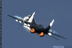 MiG 29A Burner's on! (zoomerphil) Tags: plane fire fight fighter russia flames attack jet fast aeroplane pack soviet warsaw russian vapour mig brute riat fairfor