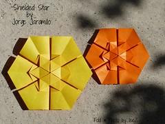Shieled Star (3) by Jorge Jaramillo (esli24) Tags: stars origami sterne paperstars papierfalten carmensprung papiersterne jorgejaramillo juliaschönhuber esli24 ilsez kaleidoscopepaper kaleidoskoppapier shieldedstar