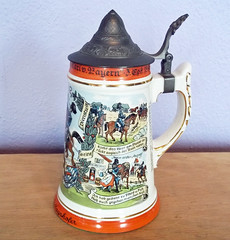 Vintage Beer Stein Commemorating the Cavalry Regiment of Prinz Carl of Bavaria (karalennox) Tags: beer vintage ceramic military german mug pottery 1960s etsy stein porcelain cavalry commemorative regimental