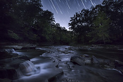 Chagrin River under the stars (debbie_dicarlo) Tags: longexposure ohio nature stars nightsky startrails chagrinriver waterfallsunderthestars