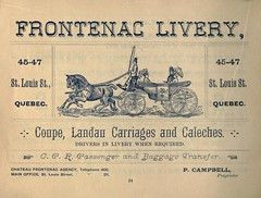Frontenac Livery - Coupe, Landau, Carriages and Caleches (vieillespubs) Tags: qubec 1896