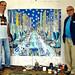 הרי בריד זאביק פוליטנסקי מבקרים בסטודיו של הצייר רפי פרץ hari brid zevick politansky politanski harry brid bird art collector