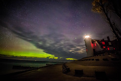 Point Betsie (Photography of Peggy Sue Zinn) Tags: nightphotography lighthouses northernlights starrynight pointbetsie northernmichigan michiganwinter pointbetsielighthouse auroraborelais michganlighthouse