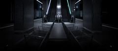 Mainhatten underground (digegolive) Tags: street white black station subway photography frankfurt escalator desaturated mainhatten