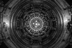I n t r i c a t e | Jain Temple (_Amritash_) Tags: travel roof blackandwhite india monochrome architecture lights ceiling temples jaisalmer rajasthan intricate travelindia jaintemple incredibleindia templesofindia monochromemadness incrediblerajasthan exploringinfinity