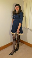 Girly dress (bryony_savage) Tags: cd tg tv crossdress crossdressing crossdresser black sheer tights heel blue skater vintage frilly dress wig makeup nail polish bargain