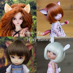 Fennec Fox Wolf Bunny commission collage (AnnaZu) Tags: etsy commission polymer clay bjd accessories wilf ears bunny tail fennec fox pukifee minifee ante rheia