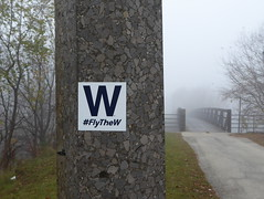 Fly the W (yooperann) Tags: chicago cubs world series sticker graffiti flythew foggy day baseball