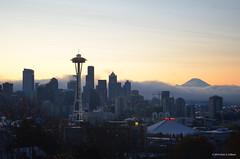 Seattle Skyline at Dawn 2011121 [CSC Nikon D5100 20111117-20111220 SanDisk 16 102D5100 DSC_0682] (Chris S. Collison) Tags: seattle skyline dawn mountrainier architecture viewfromkerrypark