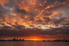Bonfire Night (duncan_mclean) Tags: landscape redskies city newzealand aucklandcity sunset auckland skytower