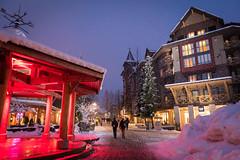 Winter wonderland in the village (GoWhistler) Tags: 2016 mikecrane dusk night snow townplaza village winter winterwonderland