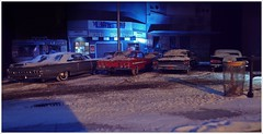 Mall Parking Lot Snow (gpholtz) Tags: ford chevrolet miniatures mercury impala diorama galaxie 1961 1964 1963 118 marauder diecast