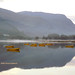 Misty sunrise on Padarn lake.