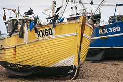 Alfie Elliot (ShrubMonkey (Julian Heritage)) Tags: blue 1969 beach yellow sussex coast boat fishing shingle flags coastal shore hastings nautical hull a7 trawler stade clinker rx60 rx389 alfieelliot bethanlouise beachlaunched