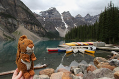 Lac Moraine (MetallYZA) Tags: lake canada mountains lac canoe mascot alberta moraine montagnes mascotte 2015